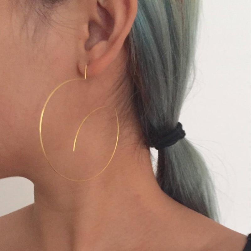 Big Thin Circle Earrings Handmade Jewelry 925 Silver/Gold Wrap  Brincos Pendientes Boho Orecchini Earrings for Women