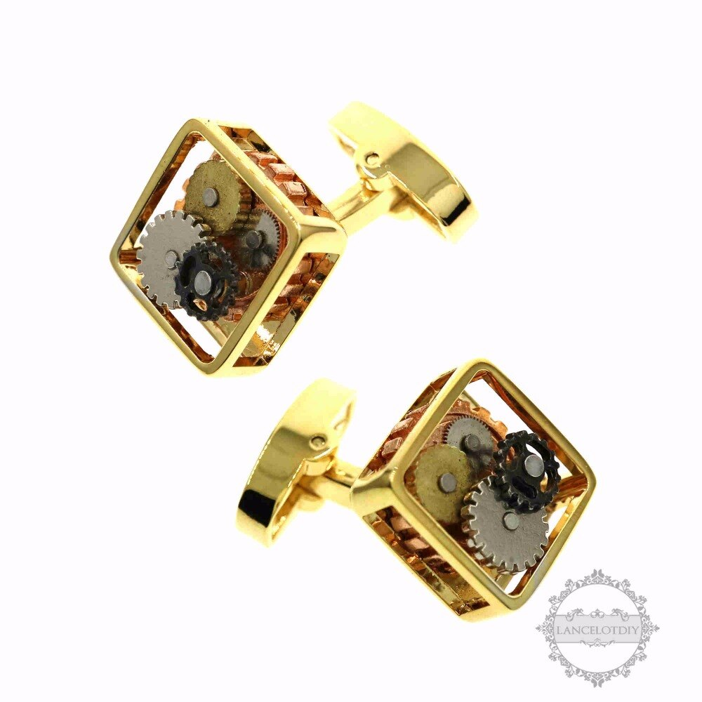 15mm square watch gear silver,gold,black steam punk watch movement cufflinks fashion cuff links 6600071