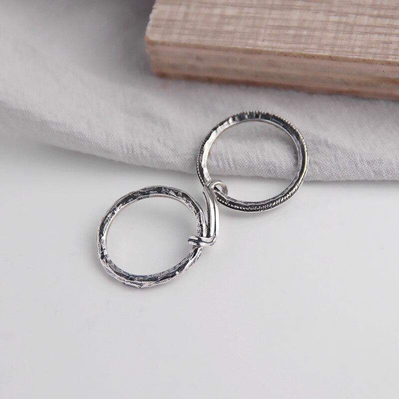 Silvology 925 Sterling Silver Double Circle Interlock Rings Original Vintage Creative Texture Rings for Women Handmade Jewelry