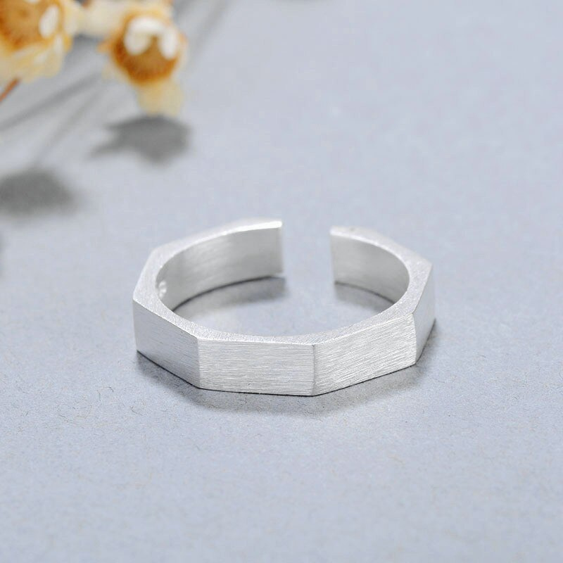 925 Sterling Silver Simple Fashion Geometric Rhombus Opening Ring Fine Jewelry For Women Party Personality Accessories