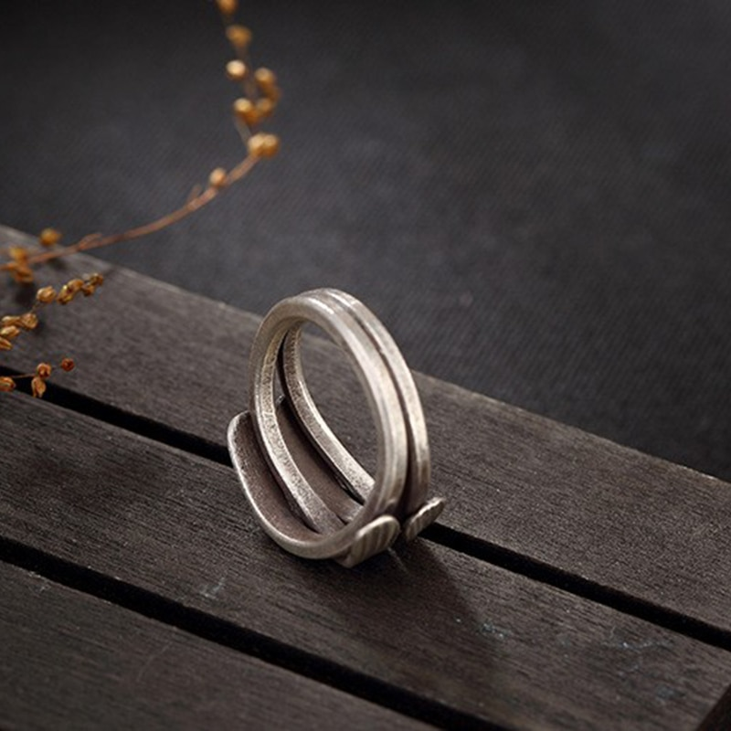 Fyla Mode Retro Twist 925 Sterling Silver Rings Antique Thai 925 Silver Rings For Girl Women Gift Jewelry PKY209
