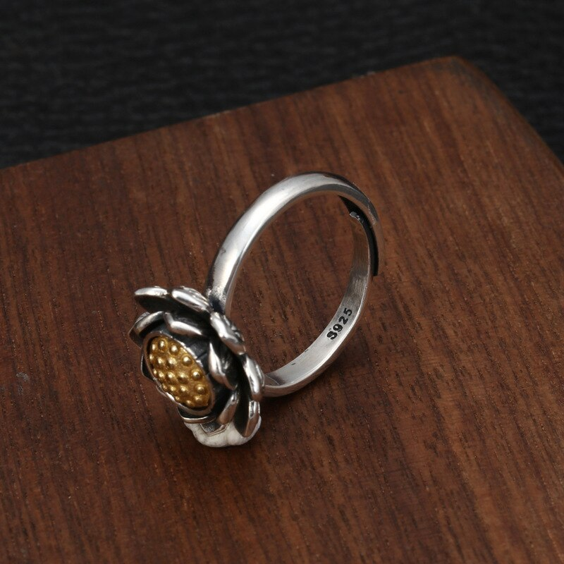 925 Sterling Silver Fashion Small Fresh Lotus Rotation Ring Female Jewelry Thai Silver Open Adjustable Ring Ethnic Style Jewelry