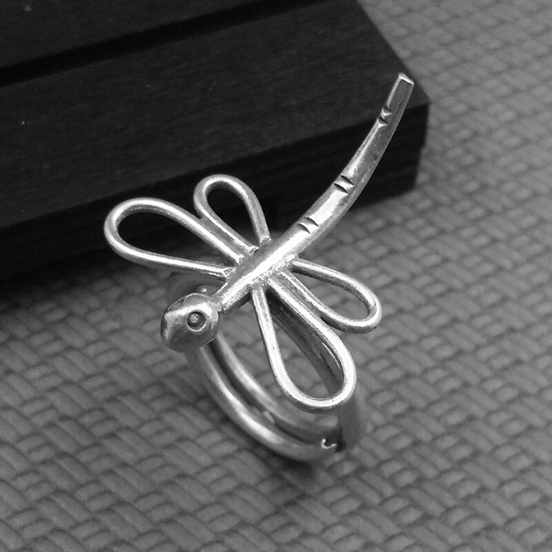 Silver 925 Jewelry Round Trendy  Dragonfly Opening Adjustable Silver Ring Suitable For Occasion Party Engagement Ring For Woman
