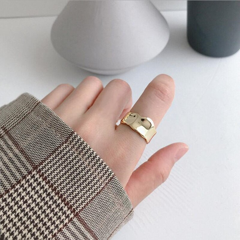 925 Sterling Silver Trendy Irregular Concave And Convex Openings Adjustable Fold Ring Wave Wide Face Women's Accessories