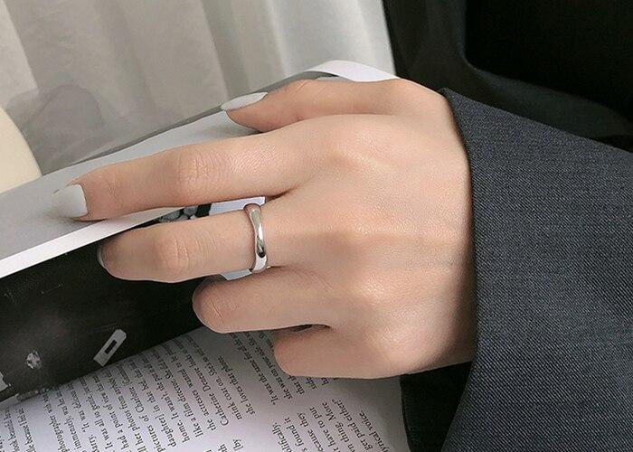 925 Sterling Silver Ring Minimalist Irregular Wavy Pattern Minimalist Trendy Ring Opening Adjustable Lady's Hand Ornaments