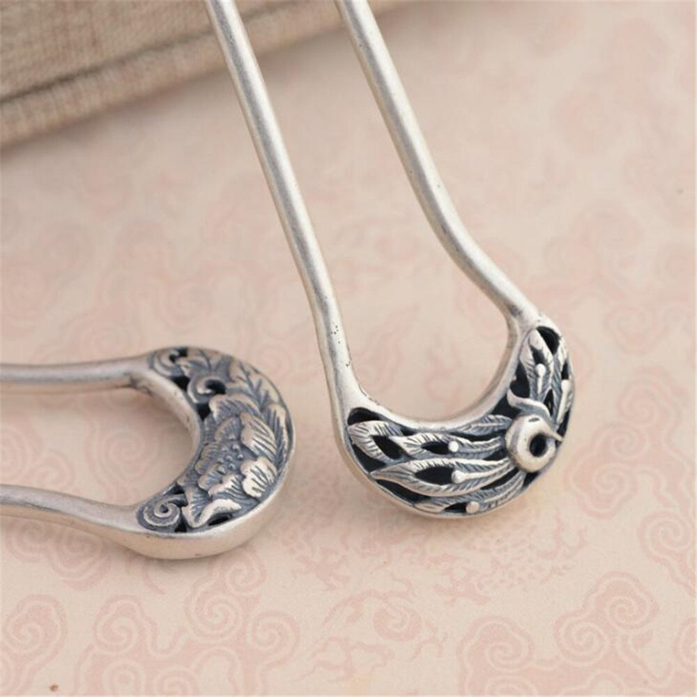 Thai Silver S925 Silver Hair Accessory Wholesale Antique Style Female Phoenix Peony Hair Sticks Fine Quality Hair Jewelry