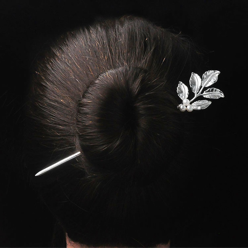 925 Sterling Silver Natural Pearl Ethnic Wind Branches Leaves Type Hair Stick Classical Disk Hair Silver Hair Stick