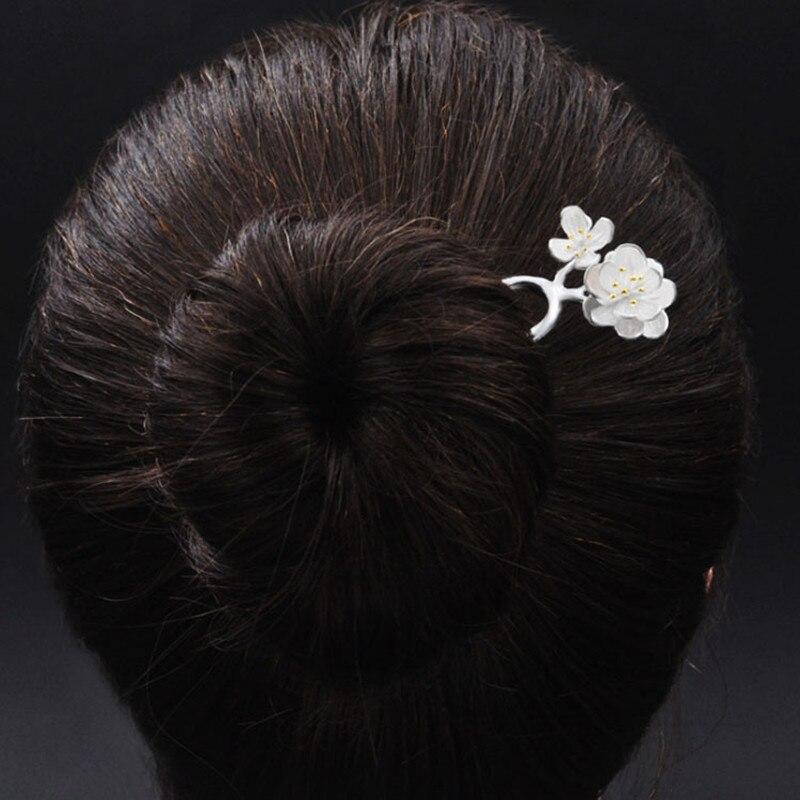 925 Sterling Silver Hair Pins Hair Sticks Big And Small White Peach Flower Headpiece Women Headwear Hair Accessories