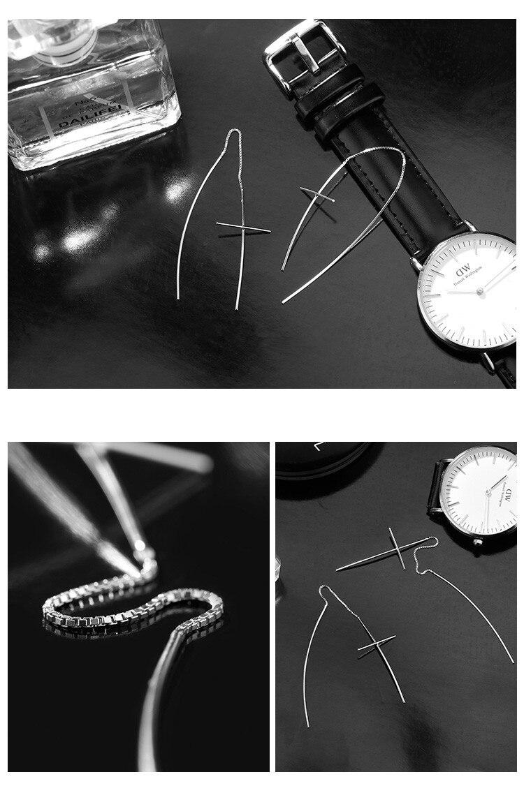 Silver 925 Jewelry Long Pending Earrings Cross Sterling Silver Earring Jewelry Strike Ear Wire Line Chain Earrings For Women