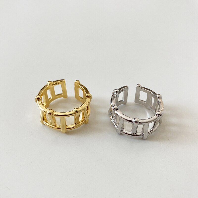 Silvology Sterling 925 Silver Irregular Openwork Rings French INS Simple Elegant Line Wide Rings for Women 925 Designers Jewelry