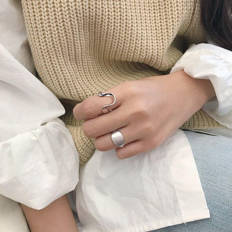 Silvology 925 Sterling Silver U Shape Rings Irregular Line Creative Design Elegant Japan Korea Rings for Women Office Jewelry