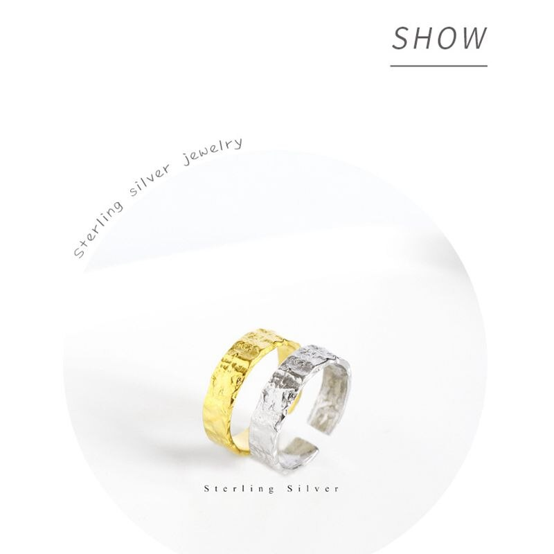 Silvology 925 Sterling Silver Foil Paper Rings Concave Convex Design Elegant Irregular Rings for Women 2019 Fashionable Jewelry
