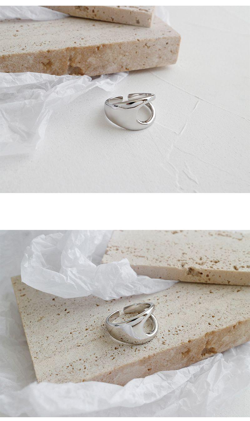 Silvology 925 Sterling Silver Openwork Glossy Wide Rings Minimalist Japan Korea Fashionable 2019 Women's Rings Silver Jewelry