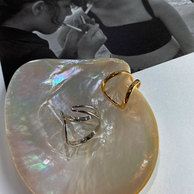Silvology 925 Sterling Silver Double Line Rings Originality Elegant Gradual Change Irregular Rings for Women Designers Jewelry