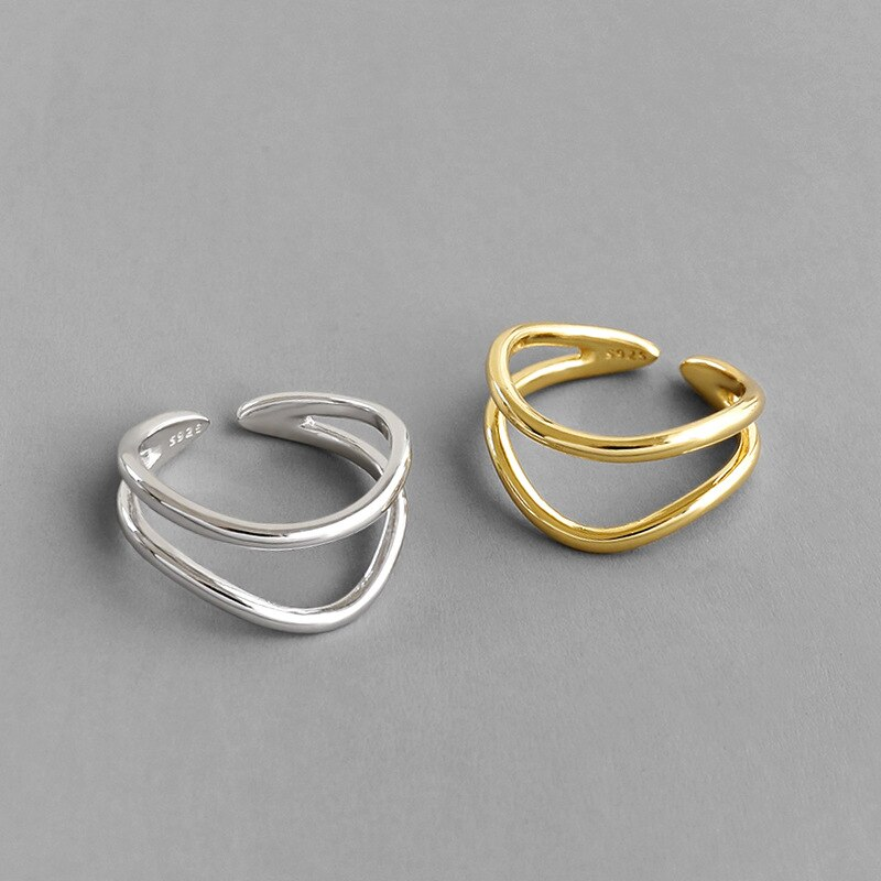 Silvology 925 Sterling Silver Double Layers Glossy Line Rings Elegant Wild INS Minimalist Open Rings for Women Office Jewelry