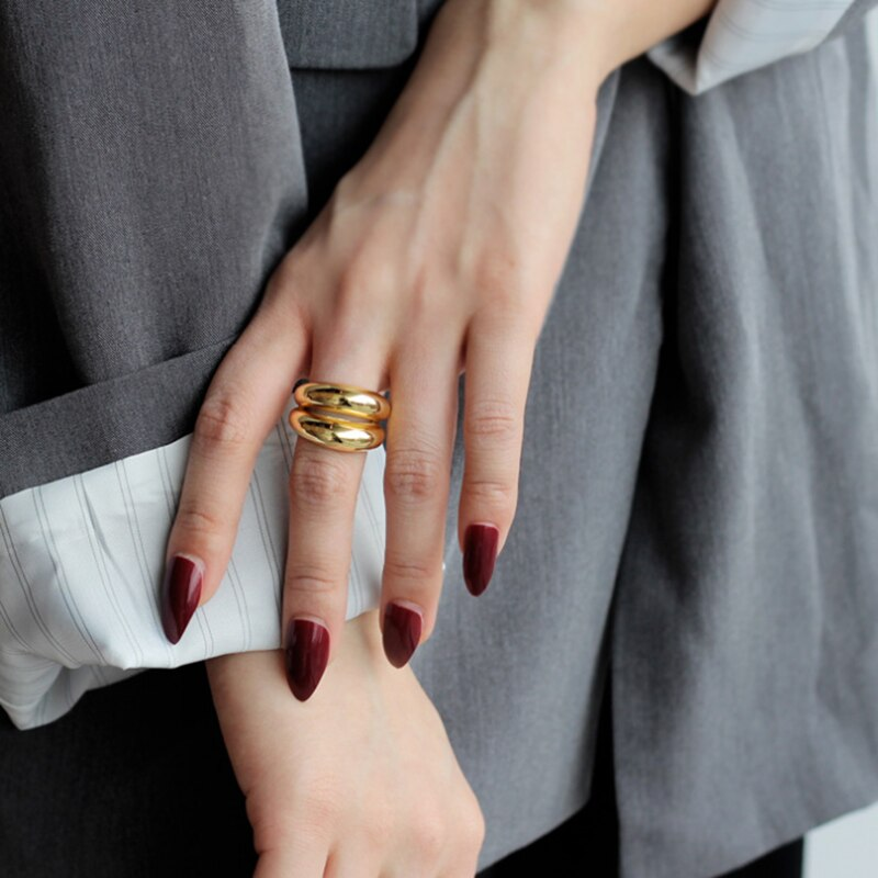 Silvology 925 Sterling Silver Double Layer Glossy Rings Top Quality Thick Light Luxury Exaggeration Rings 925 Supermodel Jewelry