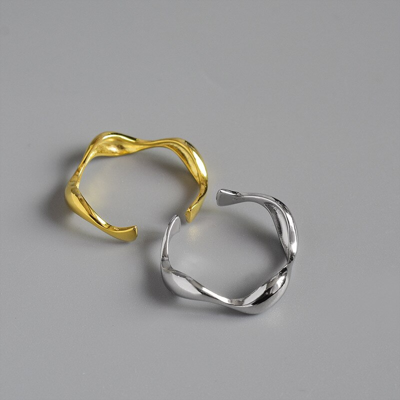 Silvology 925 Sterling Silver Irregular Wave Rings Glossy Minimalist Elegant Open Thin Rings for Women Fashionable Party Jewelry