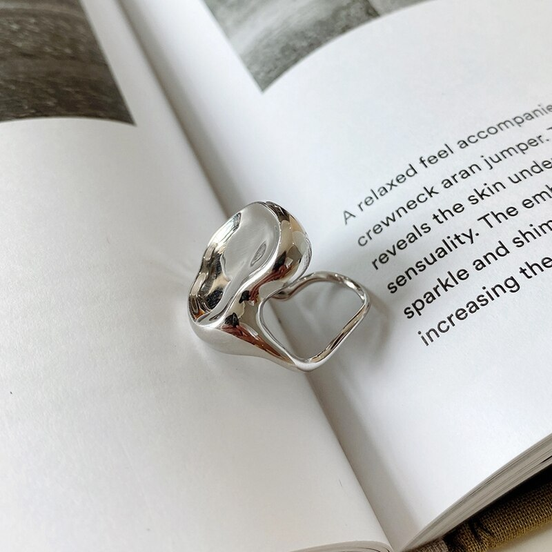 Silvology Sterling 925 Silver Bowl Face Irregular Rings Thick High Quality Japan Korea Temperament Rings for Women Party Jewelry