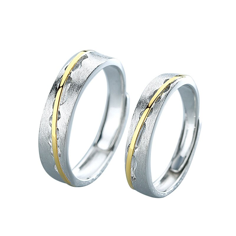 Silvology 925 Sterling Silver Lovers Spark Rings Original Gold Link Line Matte Romantic Couple Rings Silver 925 Festival Jewelry