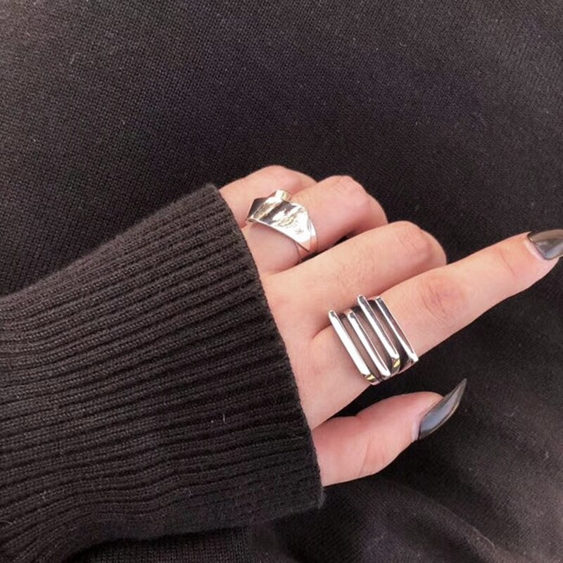 Silvology 925 Sterling Silver Multilayer Folds Rings Industry Style Texture Japan Korea Rings for Women Fashionable Jewelry Gift