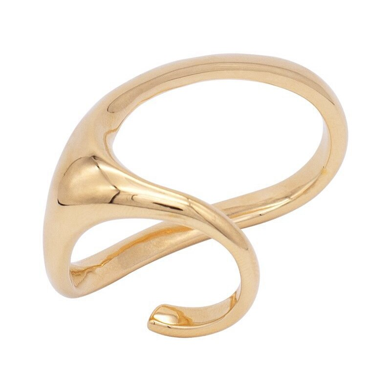 Silvology 925 Sterling Silver Exaggeration Two Fingers Rings Originality Irregular Wide Rings for Women 2020 Fashionable Jewelry