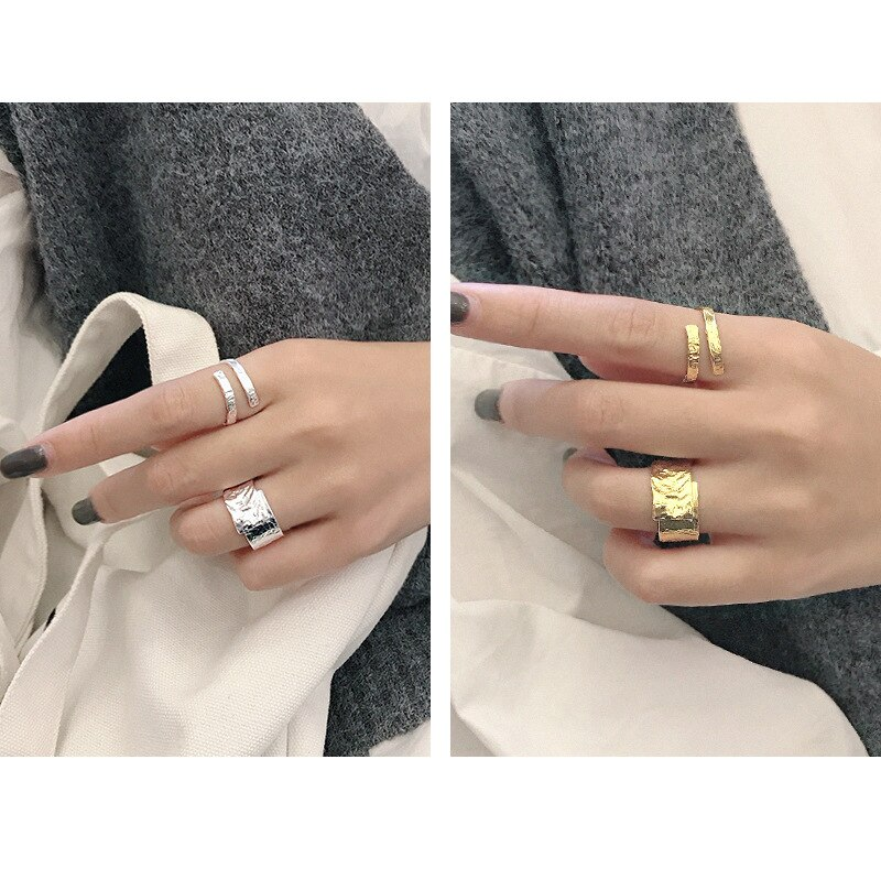 Silvology 925 Sterling Silver Double Layer Texture Rings Irregular Concave Convex Surface Tin Foil Rings for Women Chic Jewelry