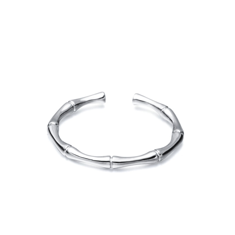 Silvology 925 Sterling Silver Bamboo Burl Thin Rings Gold Glossy Minimalist 2019 Women's Rings Silver 925 Girls Jewelry Gift
