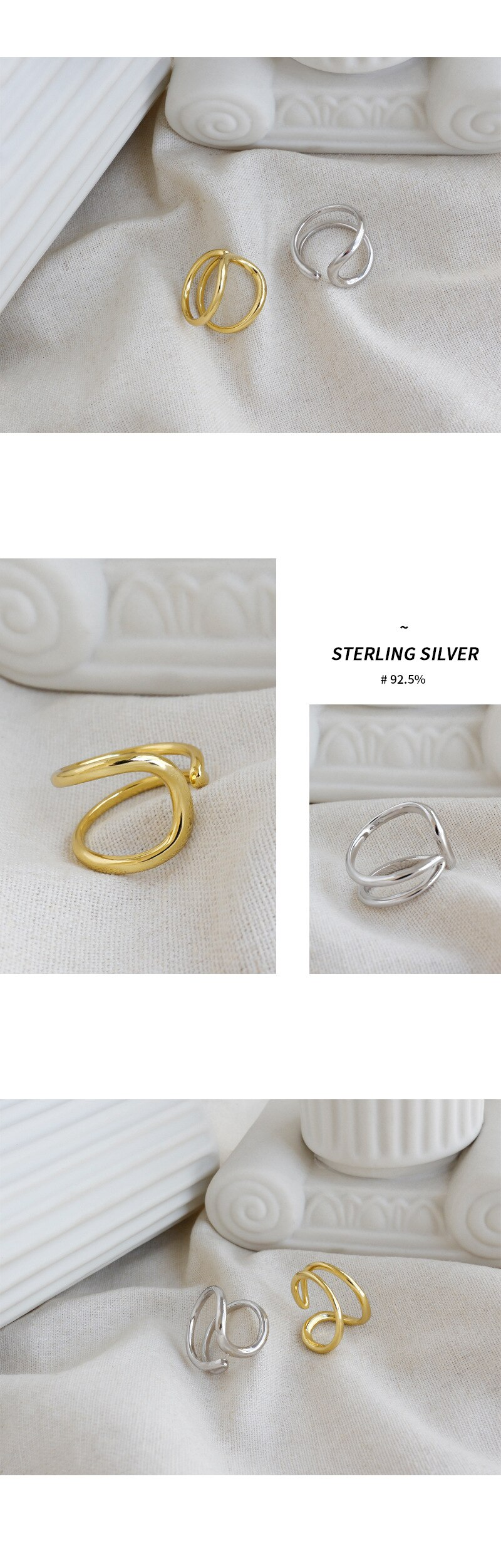 Silvology 925 Sterling Silver Double Layer Glossy Line Rings for Women Rotation Line Elegant Creative Rings 925 Jewelry Silver