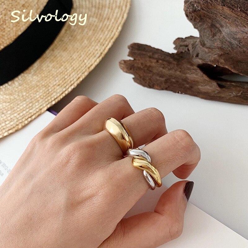 Silvology 925 Sterling Silver Double Loop Rings Glossy Multi-wear Minimalist Elegant Korea Rings for Women Fashionable Jewelry