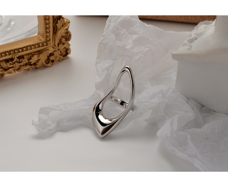 Silvology Openwork Water Drop 925 Sterling Silver Exaggeration Rings Minimalist Glossy Rings for Women Luxury Jewelry Designers