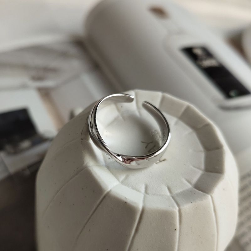 Silvology 925 Sterling Silver Distortion Rings Silver Simple Glossy Temperament Korea Style Open Rings For Women Fine Jewelry