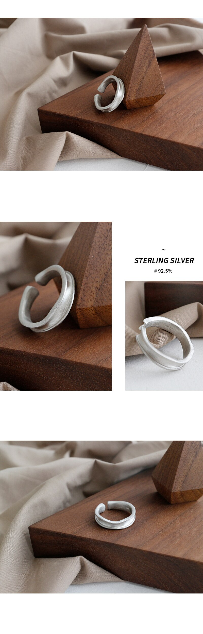 Silvology 925 Sterling Silver Irregular Rings Matte Concave Convex Minimalist Rings for Women 2019 Silver 925 Jewelry Girls Gift