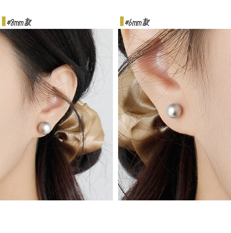 Silvology 925 Sterling Silver 6/8/10MM Round Ball Stud Earrings High Quality Matte Simple Earrings for Women Party Jewelry Gift