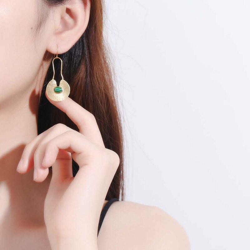 Silvology 925 Sterling Silver Malachite Long Drop Earrings Gold Watermelon Veins French Big Earrings for Women 2019 Jewelry Gift