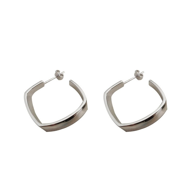 Silvology 925 Sterling Silver Rhombus Earrings for Women Exaggeration Big Stud Earrings Fashion High Quality 925 Simple Jewelry