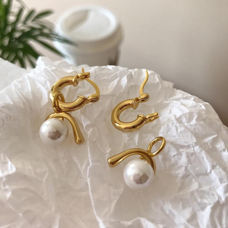 Silvology 925 Sterling Silver U Style Pearl Earrings Gold Light Luxury 2019 Fashionable Drop Earrings For Women Summer Jewelry