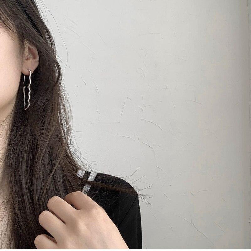 Silvology 925 Sterling Silver Geometry Exaggeration Big Earrings Irregular Long Stud Earrings for Women Minimalist Jewelry Gift