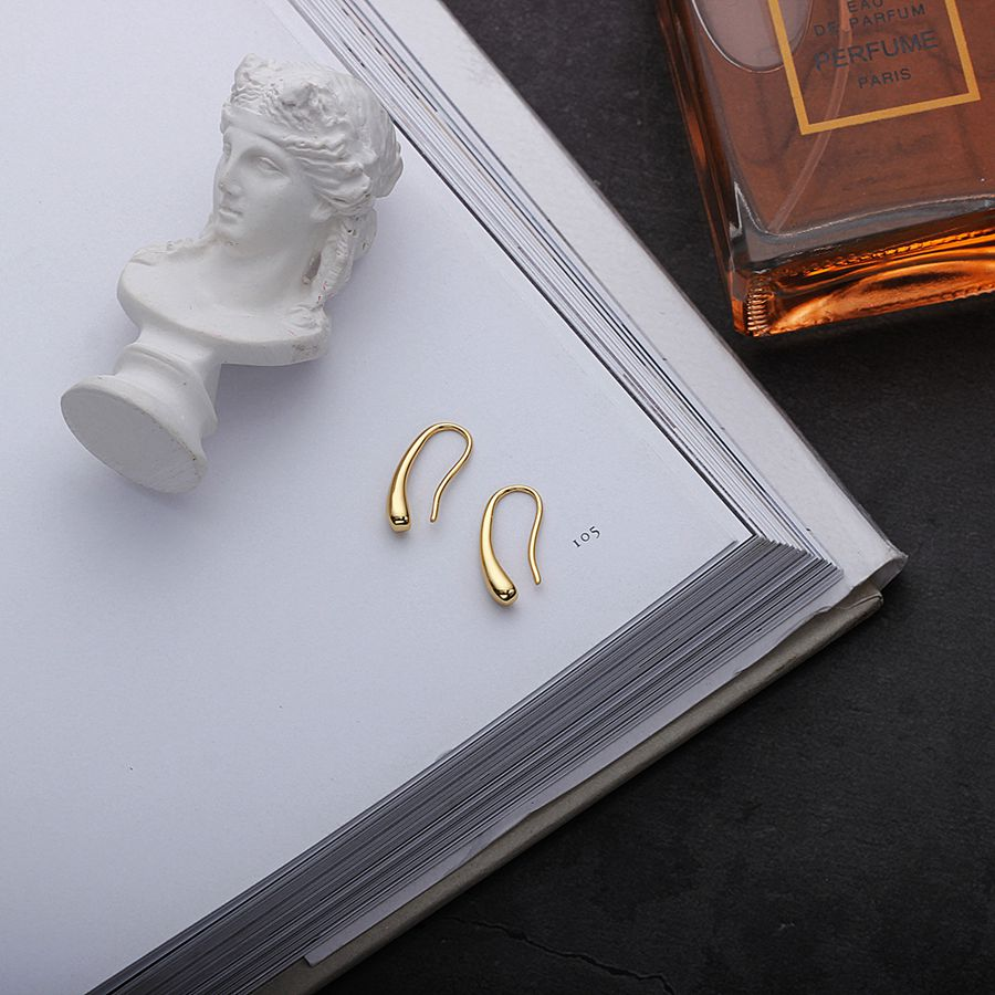 Silvology 925 Sterling Silver Water Drop Earrings Gold Simple Temperament Texture Drop Earrings For Women Elegant Jewelry Gift