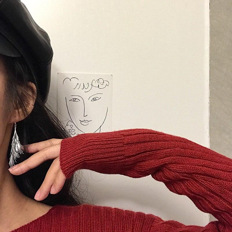 Silvology 925 Sterling Siver Bohemia Leaf Tassel Drop Earrings for Women Elegant Chic Long Pendant Earrings Frosty Style Jewelry