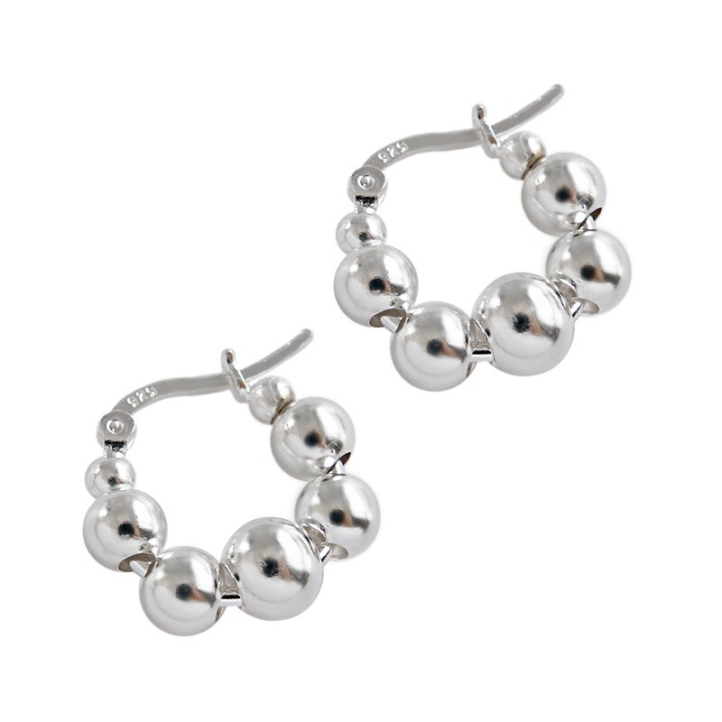 Silvology 925 Sterling Silver Round Beads Hoop Earrings Minimalist High Quality Fashionable Earrings for Women 925 Party Jewelry