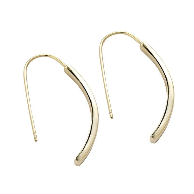 Silvology 925 Sterling Silver Geometric U Long Drop Earrings Gold Simple Wild Texture Elegant Earrings For Ladies Fine Jewelry