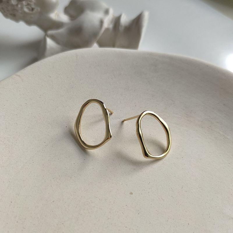 Silvology 925 Sterling Silver Irregular Openwork Earrings Gold Designer Fashionable Stud Earrings For Women Texture Jewelry Gift