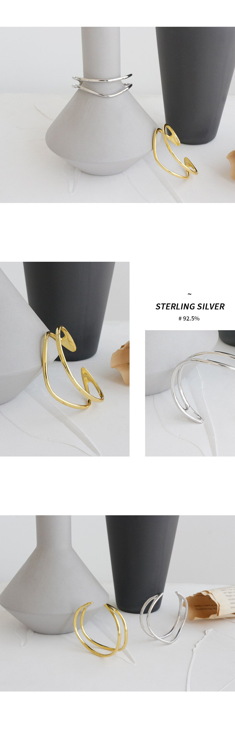 Silvology 925 Sterling Silver Double Layer Bangles Glossy Line Geometric Temperament Bracelets&bangles for Women Party Jewelry