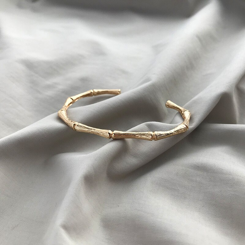 Silvology 925 Sterling Silver Bamboo Knot Texture Bangles Originality Design Temperament Cuff Bangles for Women Festival Jewelry