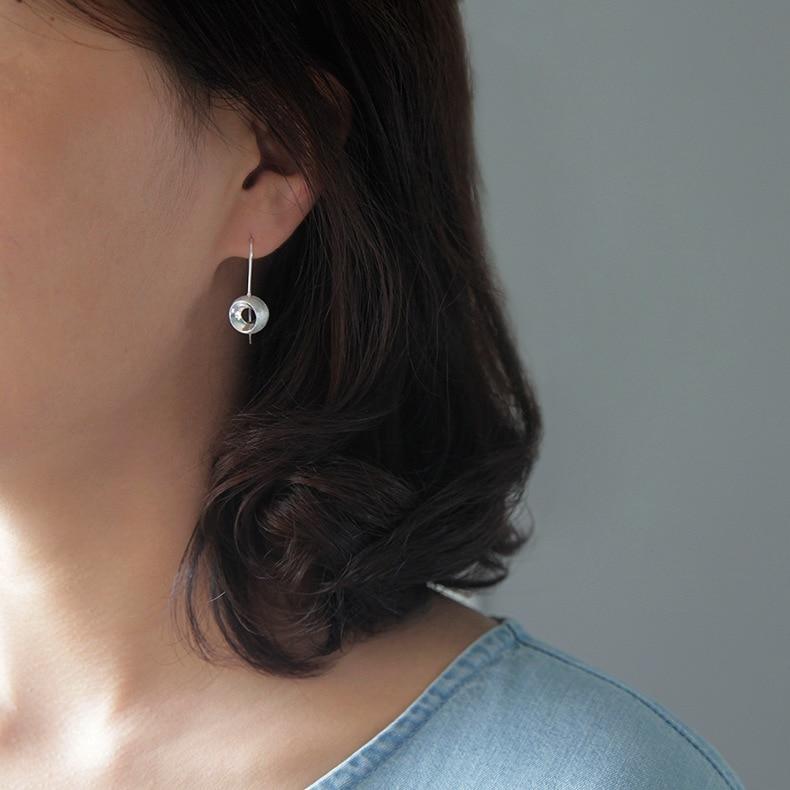 INATURE 925 Sterling Silver Geometric 3D Hemisphere Drop Earrings for Women Party Jewelry
