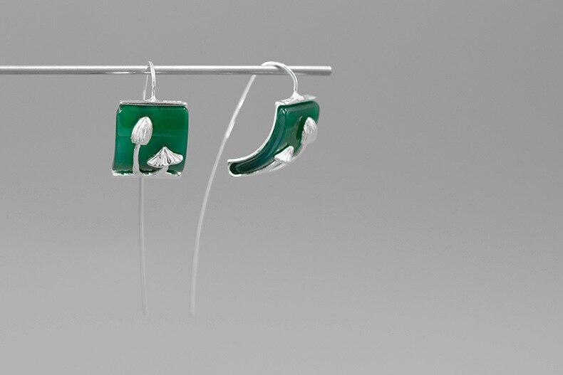 INATURE Natural Green Agate Cute Mushroom Statement Earrings for Women 925 Sterling Silver Dangle Drop Earring Fine Jewelry