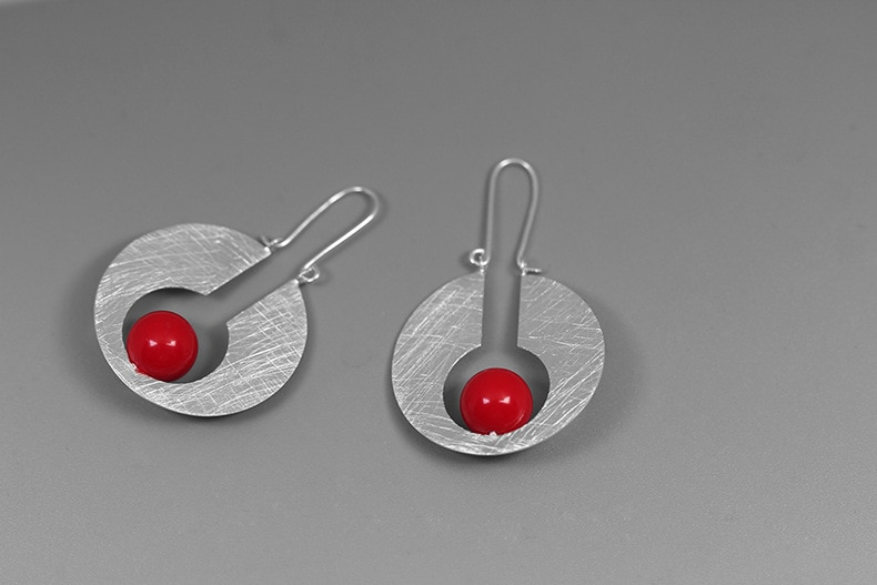 INATURE 925 Sterling Silver Creative Jewelry Fashion Red Coral Moon Drop Earrings For Women Birthday Gift