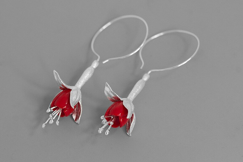 INATURE Elegant 925 Sterling Silver Red Coral Flower Drop Earrings For Women Wedding Party Jewelry
