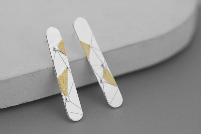 INATURE 925 Sterling Silver Personality Geometric Stud Earrings for Women Fashion Jewelry