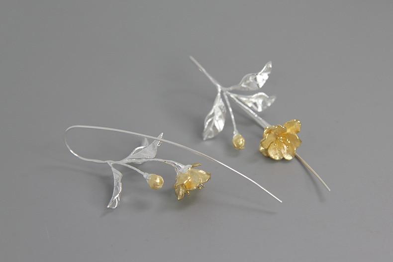 INATURE 925 Sterling Silver Elegant Tree Branch Flower Drop Earrings For Women Statement Jewelry